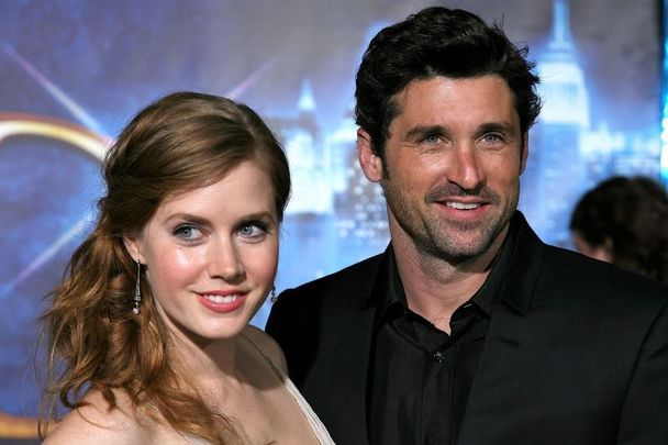 """November 17, 2007: Amy Adams and Patrick Dempsey pose together at the World Premiere of Disney\'s \""""Enchanted\"""" held at the El Capitan theatre in Hollywood, California"""