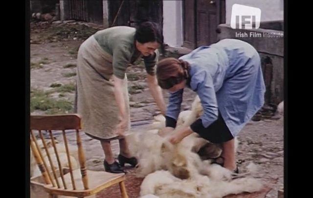 "In Desmond Egan\'s 1946 film ""Killarney Scenes,\"" two women prepare a fleece in Co Kerry."