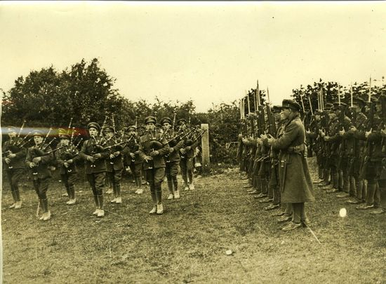 Irish Free State Army soldiers standing in formation.