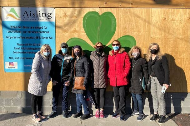 Grateful Giver team members outside of the Aisling Irish Center on McLean Avenue in Yonkers, NY.
