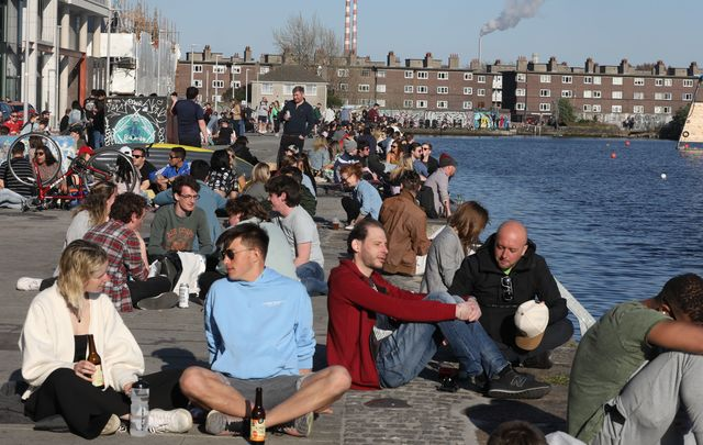 April 24, 2021: Crowds of people in the afternoon sunshine in Dublin\'s Grand Canal Dock as the country waits to hear the Government\'s plans next week for the hoped-for summer relaxation of Covid-19 Level 5 restrictions.