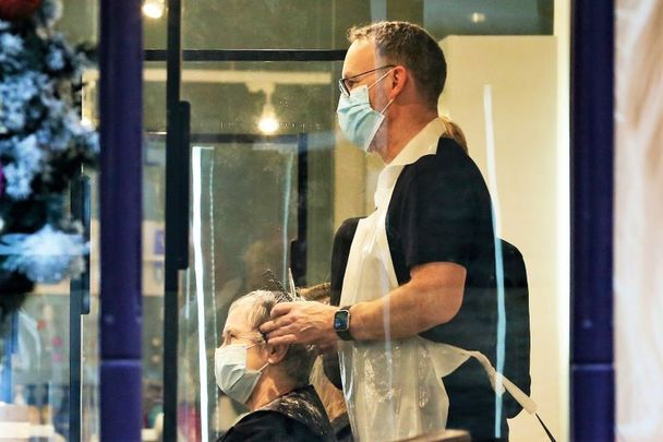 Scenes from a Dublin hairdresser in December 2020. The Taoiseach announced today that personal services can reopen by appointment from May 10.