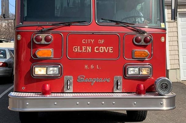 The Glen Cove Volunteer Fire Department\'s Seagrave Tiller before it was transported to Dublin, Ireland.