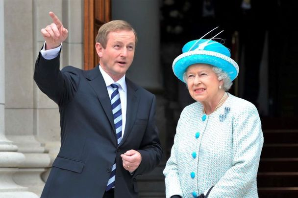May 18, 2011: Taoiseach Enda Kenny and Queen Elizabeth at Government Buildings in Dublin.