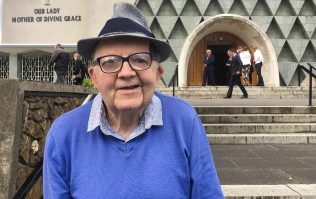 Vincie Dolan outside the church where he and his late wife Kathleen married.