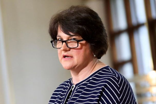Arlene Foster, pictured here in Dublin in July 2020, announced her resignation as DUP leader and First Minister on April 28.