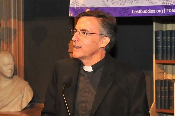 October 17, 2014: Father Kevin O\'Brien speaks on stage at the 2014 Audi Best Buddies Challenge VIP Reception at Georgetown University in Washington, DC.