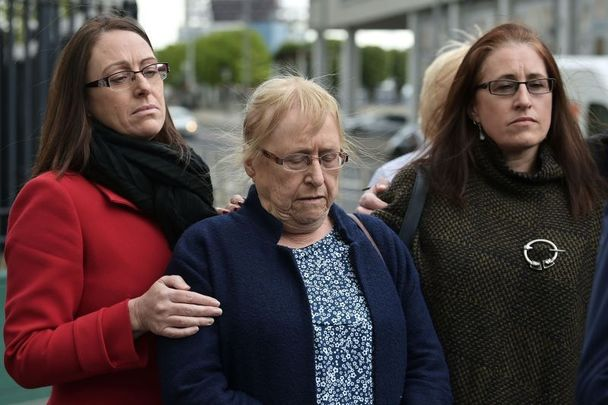 May 4, 2021: Joe McCann\'s widow (center) and family members after the trial against two former British soldiers accused of killing McCann in 1972 collapsed.