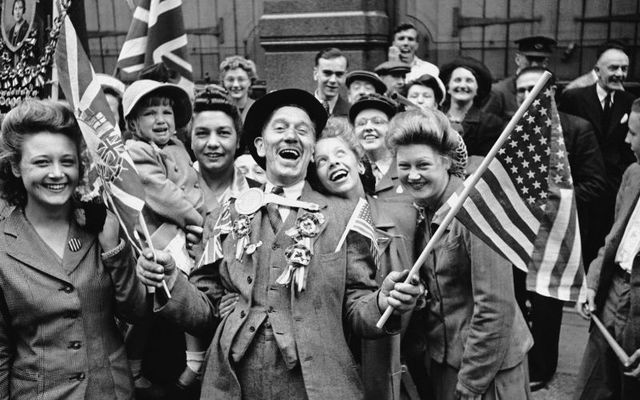 Crowds in London celebrate VE Day on May 8, 1945.\n