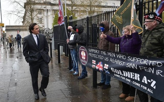 Conservative MP Johnny Mercer celebrates with veterans supporters in Belfast last week after two former British paratroopers were acquited of the murder of IRA member Joe McCann.
