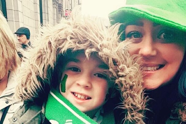Sonia Aylmer and her son Brooklyn Colbert in Limerick on St. Patrick\'s Day.