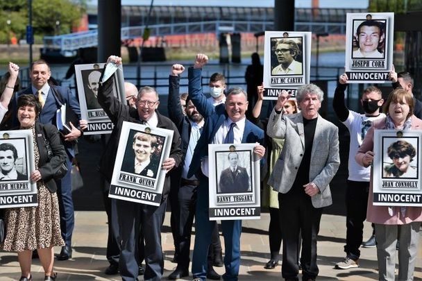 May 11, 2021: Relatives react after the findings of the Ballymurphy Inquest were released by the coroner at the Waterfront Hall in Belfast, Northern Ireland.