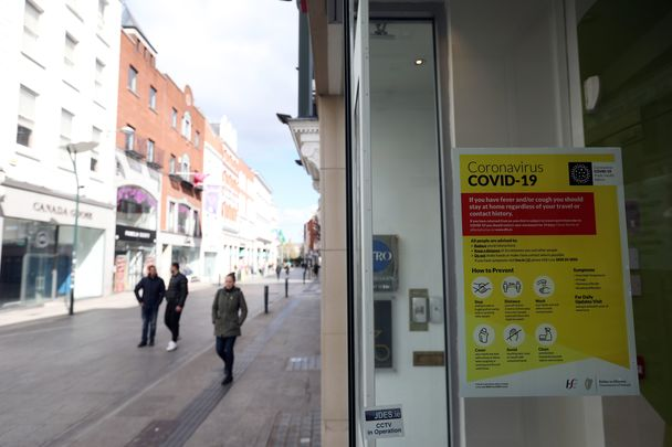 Grafton Street, during April 2021, Ireland had been in lockdown since Christmas.