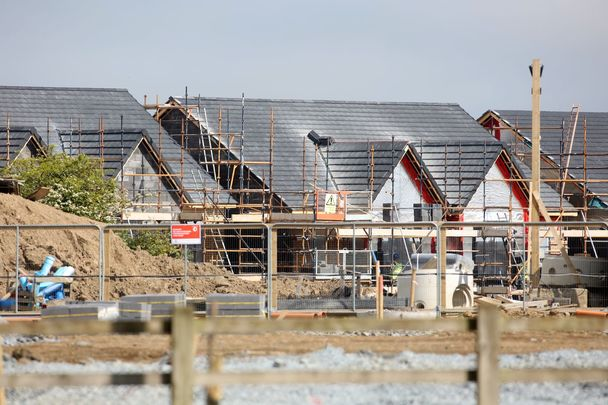Construction work taking place in the Bay Meadows housing development in Dublin 15. All 112 houses have been bought by global investment company Round Hill Company, to be put on the rental market
