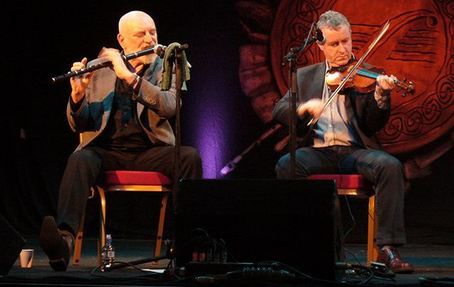Matt Molloy and John Carty of the Chieftains, one of the most famous bands associated with Claddagh Records.
