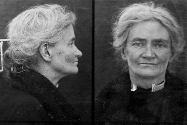 A police photograph of Violet Gibson taken after her arrest for the attempted assassination of Benito Mussolini in 1926.