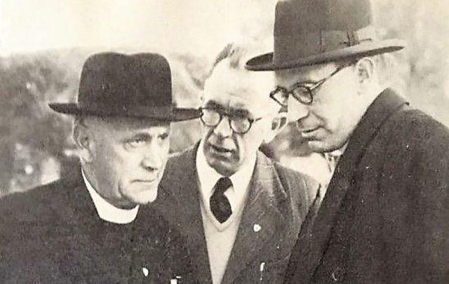 Muintir na Tíre personnel 1953; Canon John Hayes, Frank Lyddy, General Secretary and Most Rev. Dr. Thomas Morris, Archbishop of Cashel & Emly