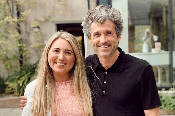 Olivia Burns, owner of the home fragrance brand Olivia's Haven, and her top-secret house guest Patrick Dempsey.