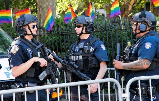June 30, 2019: NYPD officers patrol before the Queer Liberation March in New York City.
