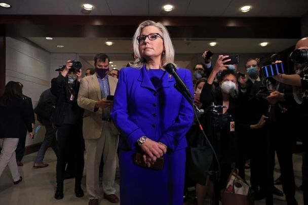 May 12, 2021:  Rep. Liz Cheney (R-WY) talks to reporters after House Republicans voted to remove her as conference chair.