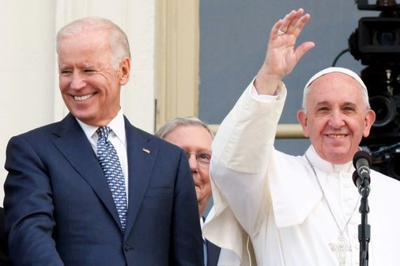 President Joe Biden with Pope Francis prior to the outbreak of the pandemic.