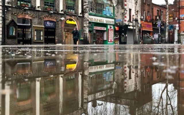 Dublin\'s Temple Bar after a January rainstorm.