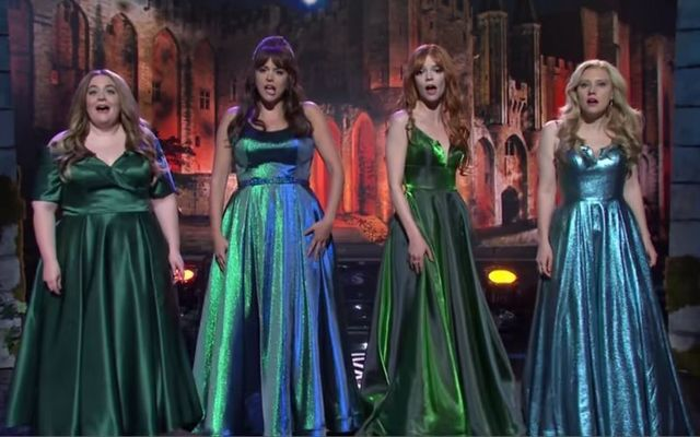 Aidy Bryant, Cecily Strong, guest host Anya Taylor-Joy, and Kate McKinnon parodying Celtic Woman on SNL.