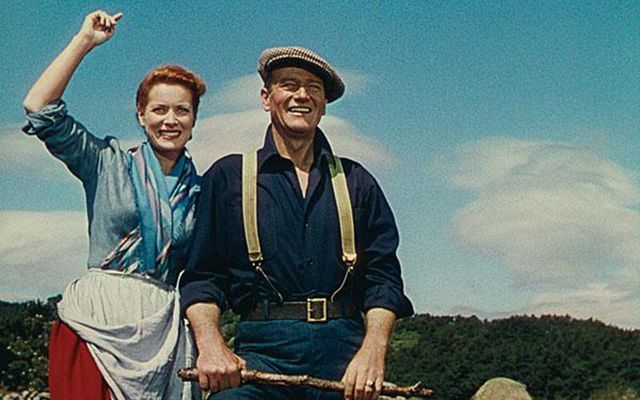 The Quiet Man: Maureen O\'Hara and John Wayne in the 1952 movie, filmed in Cong, County Mayo.