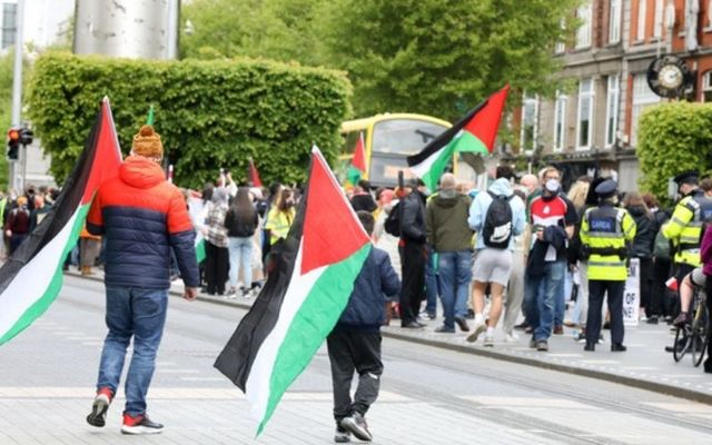 Huge crowds gather in Dublin on May 22 to protest against Israeli aggression against Palestine.
