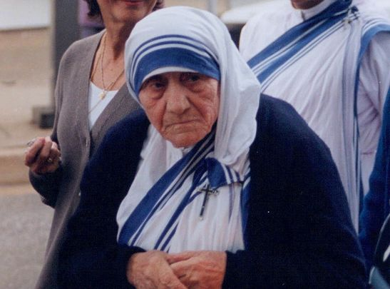 Mother Teresa photographed in 1996, a year before her death.