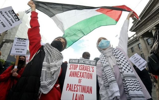 May 22, 2021: Fatima Aydi and Hebba Maarouf, who are both Palestinian, at a March for Palestine in Dublin.