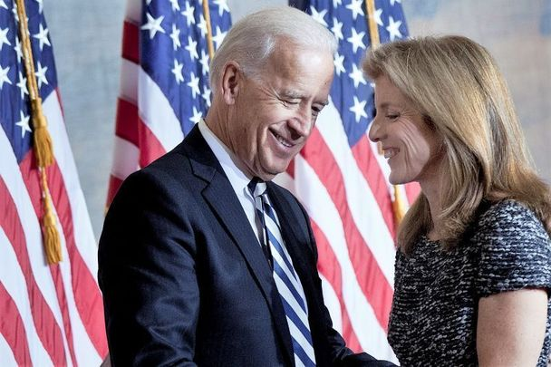 January 20, 2011: Caroline Kennedy thanks Vice President Joseph Biden after he spoke during an event to honor her father\'s inauguration on Capitol Hill in Washington, DC