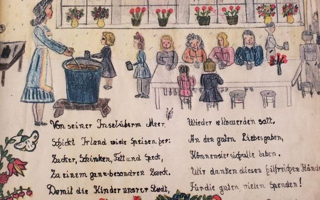Reproduction of a page from the Saarbrücken Dankebuch (Thank you book).