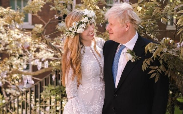 Boris Johnson with his third wife Carrie Symonds on their wedding day.