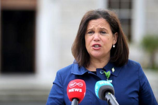 April 9, 2021: Sinn Féin President Mary Lou McDonald speaking on the Plinth outside Leinster House in Dublin.