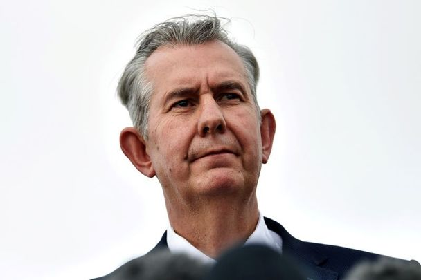 May 14, 2021: Edwin Poots gives a statement to the media at Stormont after being elected as the new Democratic Unionist Party leader in Belfast, Northern Ireland.