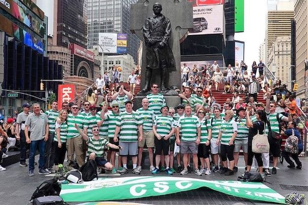 Participants in the 2019 Celtic FC Foundation New York walk at Duffy Square in Times Square.