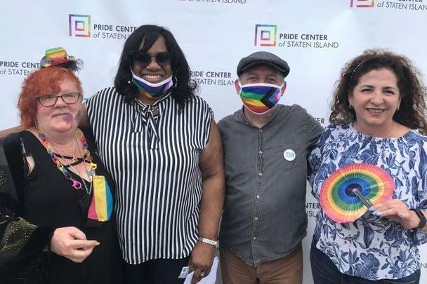 May 22, 2021: (L to R) Marcy Carr, New York City Council member Debi Rose, Brendan Fay, and New York State Senator Diane Savino.