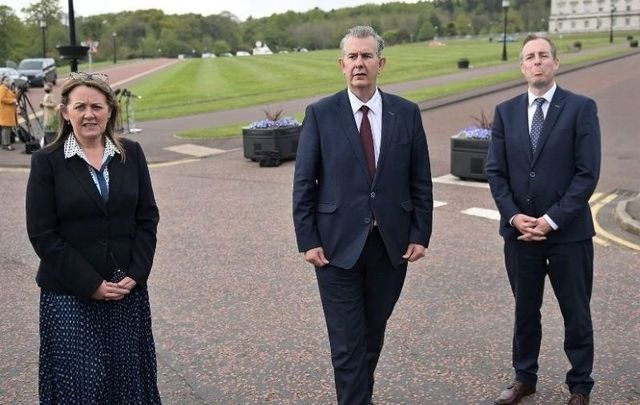 May 14, 2021: Edwin Poots (C) pictured at Stormont after being elected as the new Democratic Unionist party leader alongside new deputy leader Paula Bradley (L) and Paul Givan (R) in Belfast, Northern Ireland.