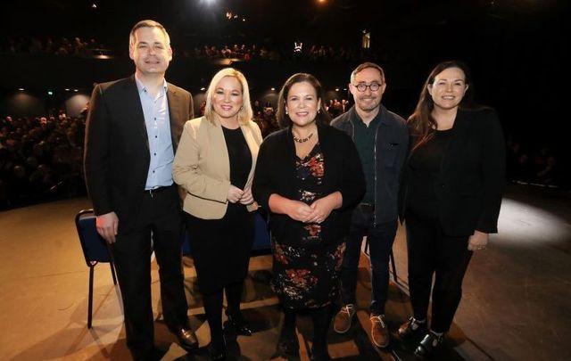 February 2020: (L to R) Sinn Féin TD Pearse Doherty, Sinn Féin Vice President Michelle O\'Neill, Sinn Féin President Mary Lou McDonald, TD Eoin Ó Broin, and TD Louise O\'Reilly.