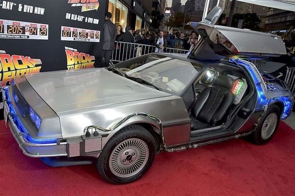 """The \""""Back To The Future\"""" DeLorean DMC-12 seen at a special anniversary screening of the movie in New York City in 2015."""