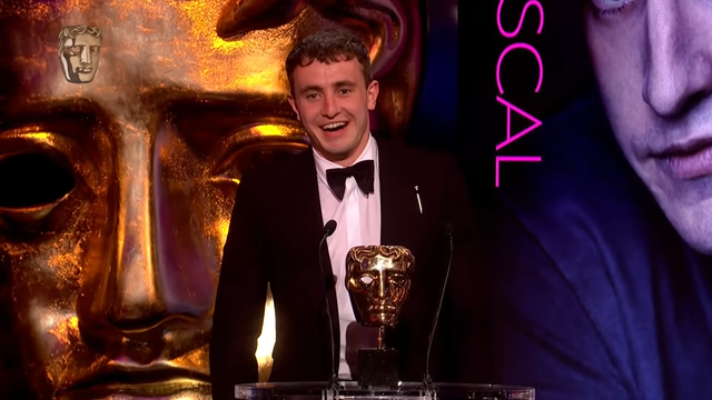 Paul Mescal accepting his BAFTA award for his role as Connell Waldron in Normal People.