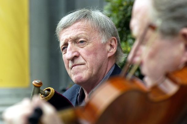 Members of the Chieftains Paddy Moloney and Sean Keane (fiddle) on the steps of the National Concert Hall in 2004.