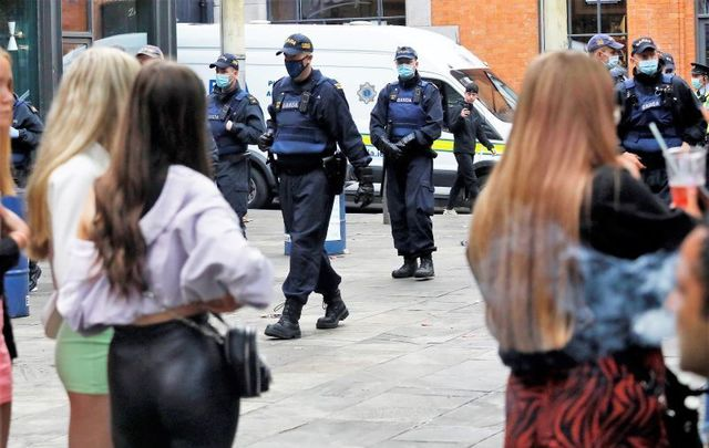June 6, 2021: Garda Siochana Public Order arrive in Temple Bar Dublin