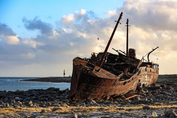 The wreck of the Plassey, a famous landmark on Inis Oirr.