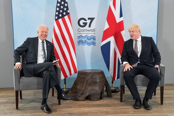 President Joe Biden meets with Britain\'s Prime Minister Boris Johnson at the G7 Summit, in Cornwall.