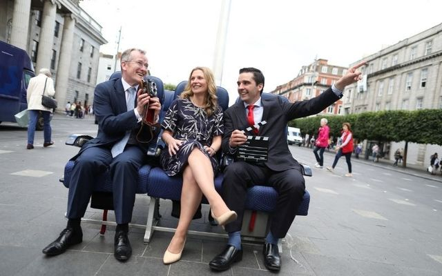 From left: Niall Gibbons, CEO at Tourism Ireland, Liz Halpin, Head of Dublin at Fáilte Ireland, and Martin O\'Regan, CEO at InflightFlix. Note: This photograph was taken before the Covid-19 pandemic and before the need for social distancing