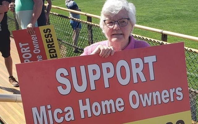 Donegal native Ann Harkin Doherty, 88, braves 90-degree heat in Boston to support families affected by the mica scandal.