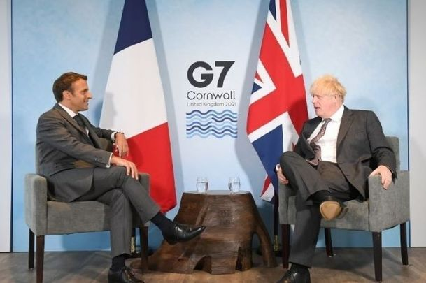 June 12, 2021: Prime Minister Boris Johnson meets French President Emmanuel Macron during the G7 summit in Carbis Bay, Cornwall in the UK.