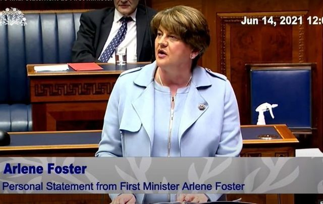 June 14, 2021: Arlene Foster delivers a personal statement in the Northern Ireland Assembly as she officially resigns as First Minister.